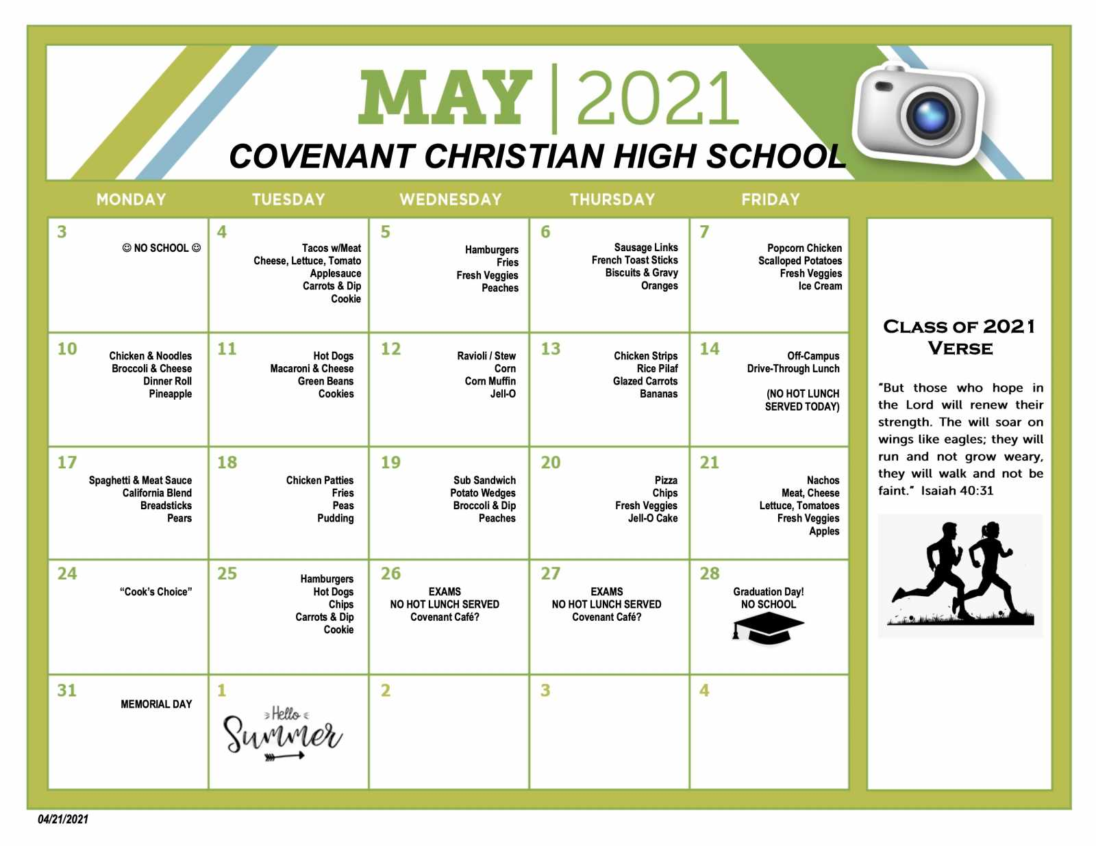 CCHS Hot Lunch Menu May 2021